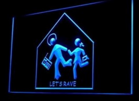 Lets Rave Party Dance LED Neon Sign