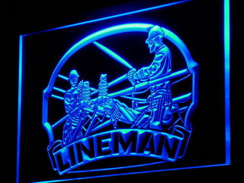 Lineman Repairs Services Display Neon Light Sign