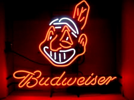 MLB CLEVELAND INDIANS BUDWEISER BUD LIGHT BASEBALL BEER BAR NEON