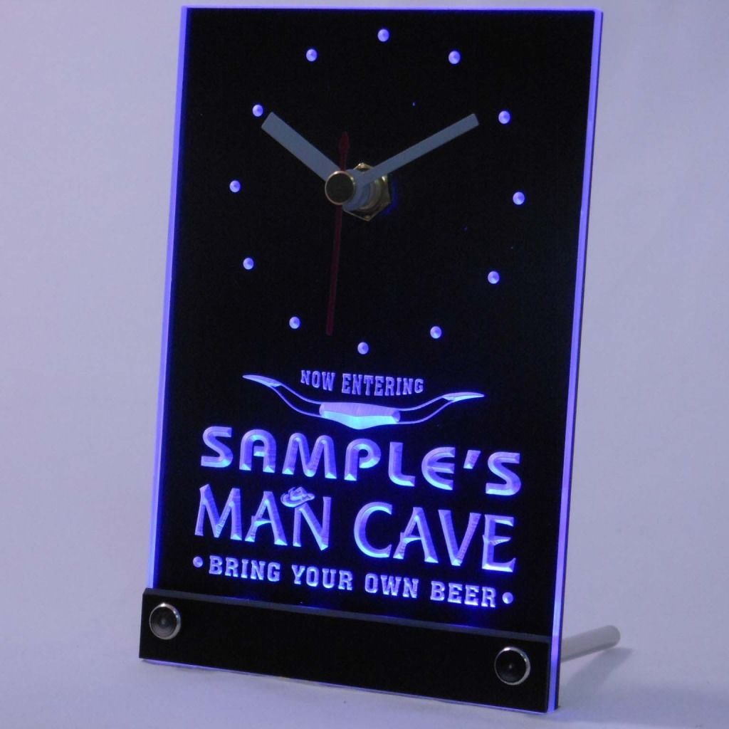 Personalized Man Cave Room Bar Led Table Clock Blue