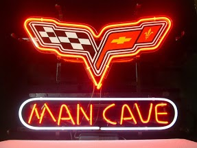 Mancave Racing Flags Red Classic Neon Light Sign 17 x 14