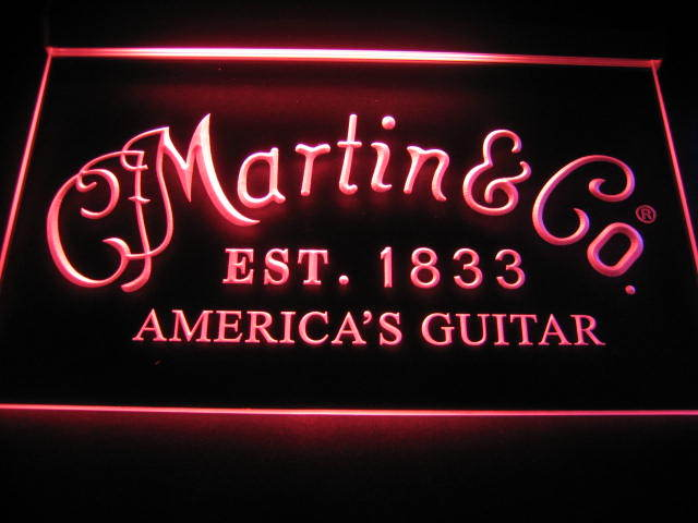 Martin & Co America's Guitar Beer Light Sign Neon