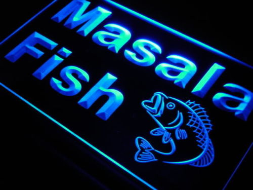 Masala Fish Restaurant Seafood Neon Light Sign