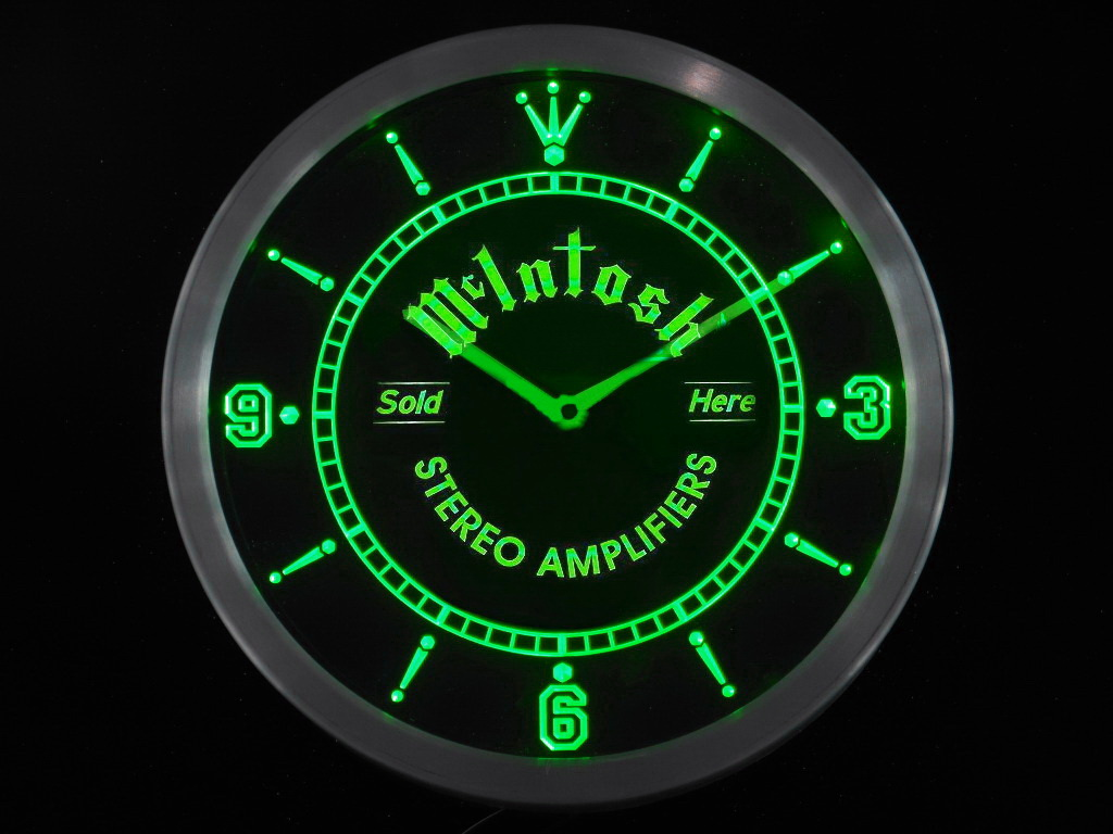 A McIntosh Amplifiers Led Neon Round Clock