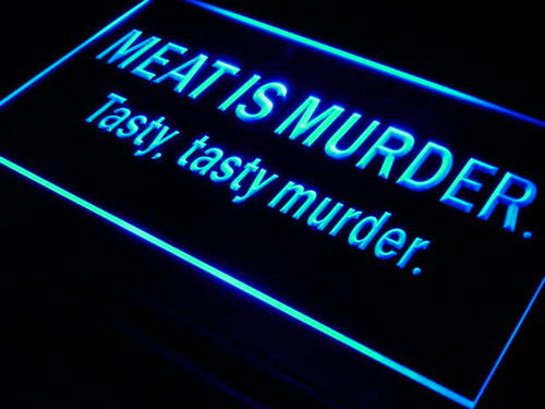 Meat is Murder Tasty Murder Bar Neon Light Sign