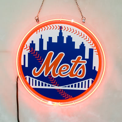 Mets Baseball Logo Round Neon Bar Mancave Sign