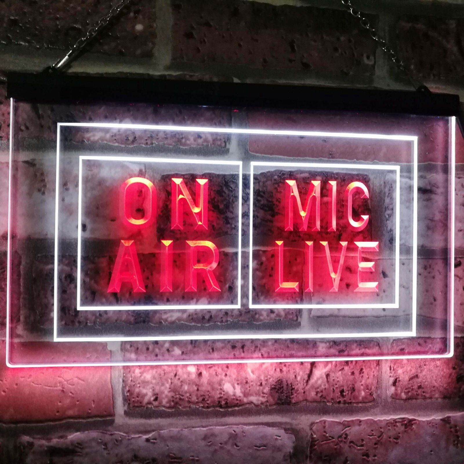 Mic Live On Air Studio Recording Dual Color Led Neon Sign