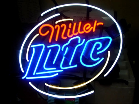 Miller Lite Round Bar Classic Neon Light Sign 16 x 16
