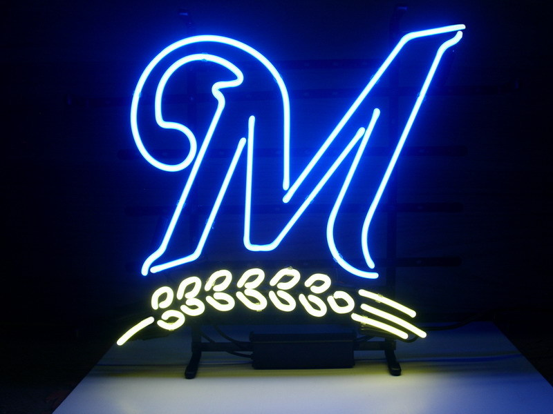 Milwaulkie Brewers Logo Blue Classic Neon Light Sign 17 x 14