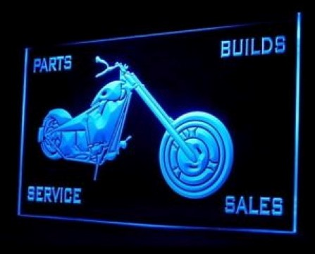Motorcycle Service Parts Builds Bikes LED Neon Sign