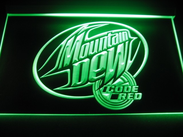 Mountain Dew Code Red Logo Neon Light Sign