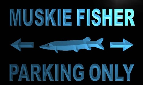 Muskie Fisher Parking Only Neon Light Sign