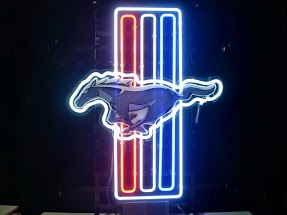 Mustang Stallion Triple Stripe Classic Neon Light Sign 17 x 14