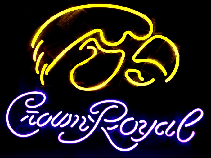 NCAA Iowa Hawkeyes Crown Royal Neon Sign 16 x 15