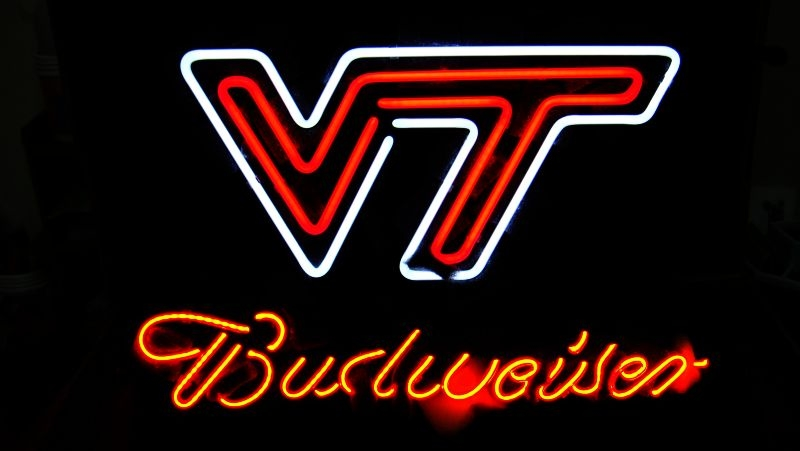 NCAA Virginia Tech Budweiser Classic Neon Light Sign 16 x 15