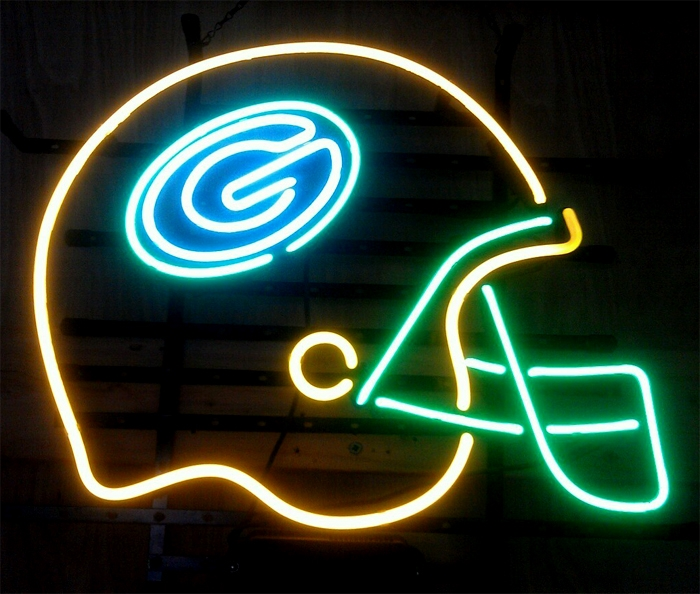 NFL Green Bay Packers Football Helmet Neon Light Sign 17x 15