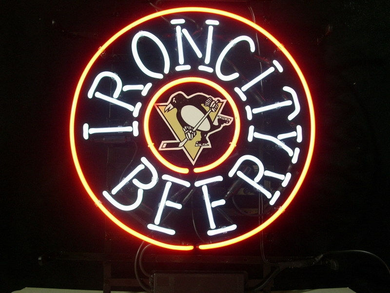 NHL Pittsburgh Penguins Iron City Neon Light Sign 16 x 16