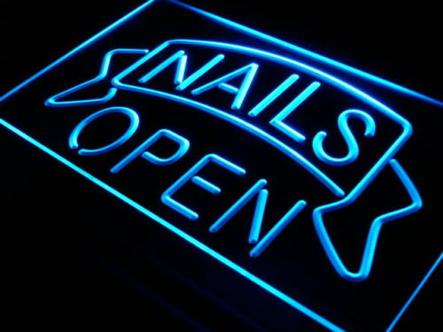 Nails Open LED Light Sign