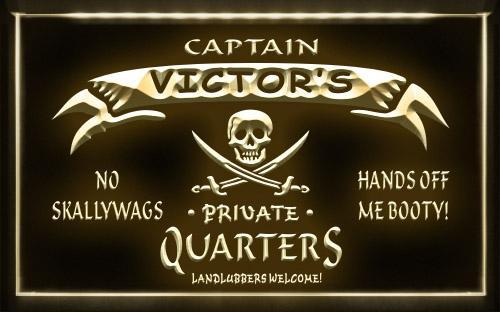 Name Personalized Private Quarters Pirate Neon Light Sign