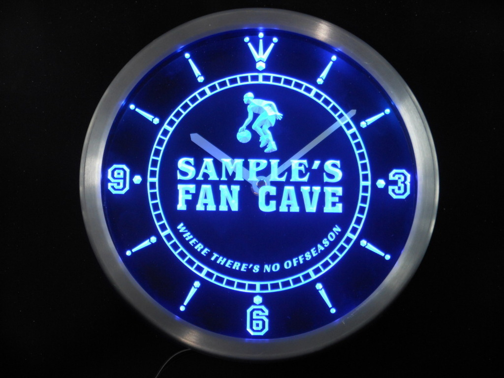 Neon Man Cave Signs Canada : Name personalized basketball fan cave man led clock