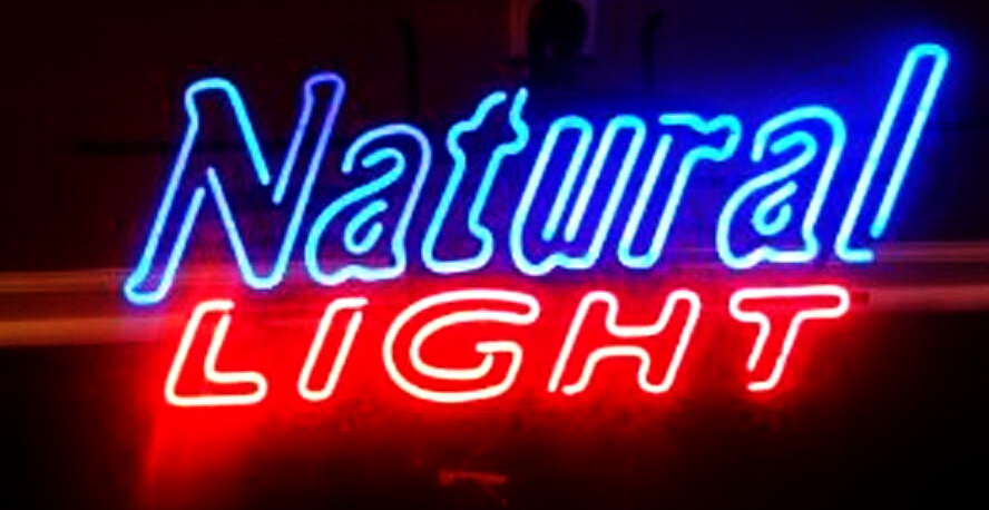 Natural Light Hollow Text Neon Sign