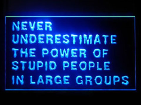 Never Underestimate The Power Of Stupid People LED Neon Sign