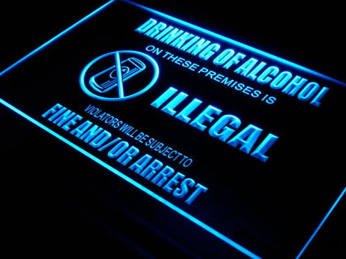 No Alcohol Illegal Warning Neon Light Sign