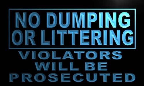 No Dumping or Littering Neon Light Sign