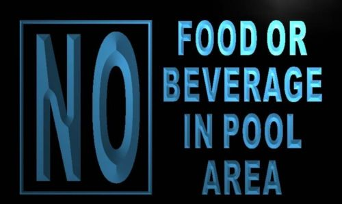 No Food or Beverage in Pool Area Neon Light Sign