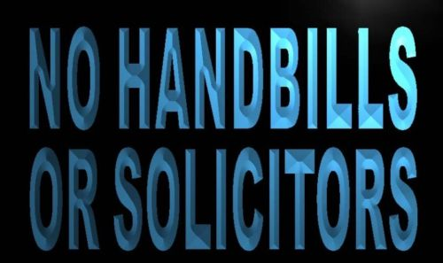 No Handbills or Solicitors Neon Light Sign