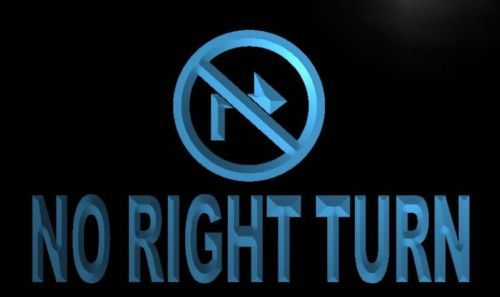 No Right Turn Neon Light Sign