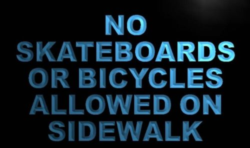 No Skateboards Bicycle on Sidewalk Neon Sign