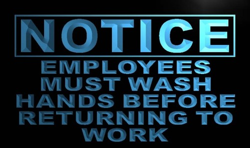 Notice Employees Must Wash Hands Neon Light Sign