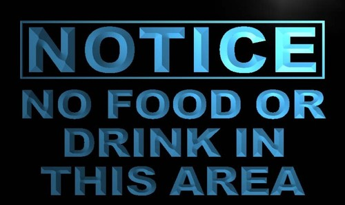 Notice No Food or Drink Neon Light Sign