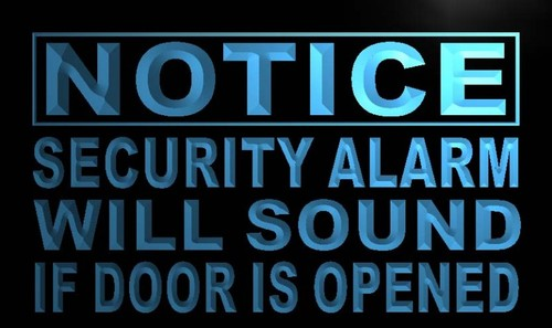 Notice Security Alarm will Sound Neon Light Sign