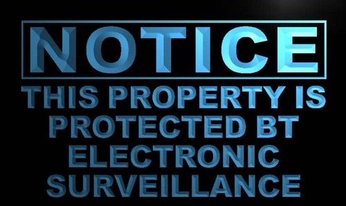 Notice This property is protected Neon Sign
