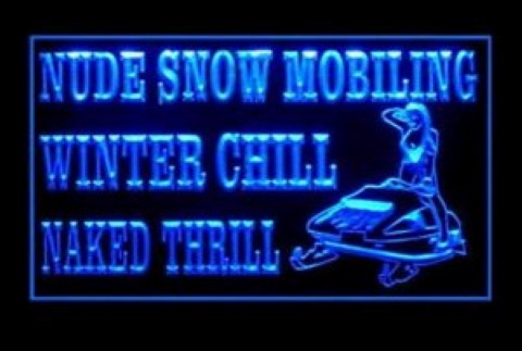 Nude Snow Mobiling Winter Naked Thrill LED Neon Sign
