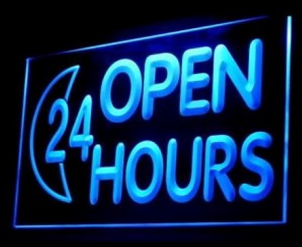 OPEN Reception 24 HOURS LED Neon Sign
