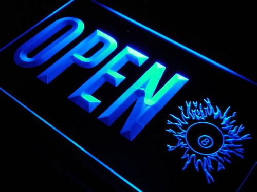 OPEN 8 Balls Pool Billiard Room LED Neon Sign