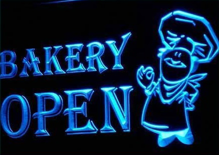 OPEN Bakery Shop Bread Display Neon Light Signs