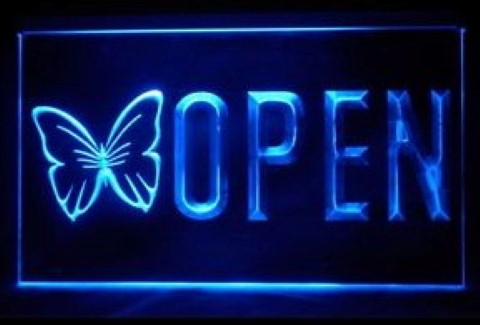 OPEN Butterfly Massage LED Neon Sign