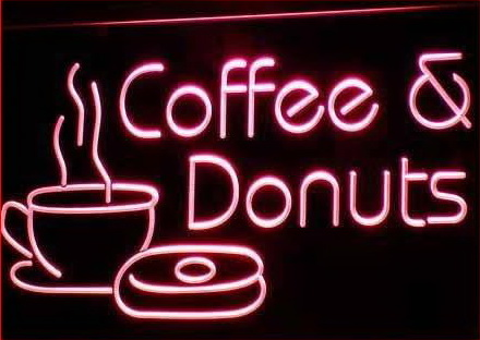 OPEN Coffee & Donuts Cafe Bar Neon Light Sign