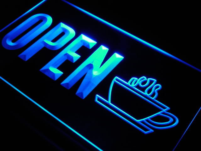 OPEN Coffee Cup Shop Display Neon Light Sign