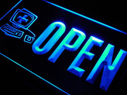 OPEN Computer Display Repairs Neon Light Sign