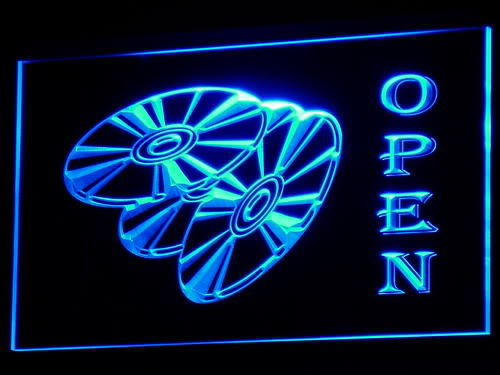 OPEN DVD Blu Ray Movie Disc neon Light Sign