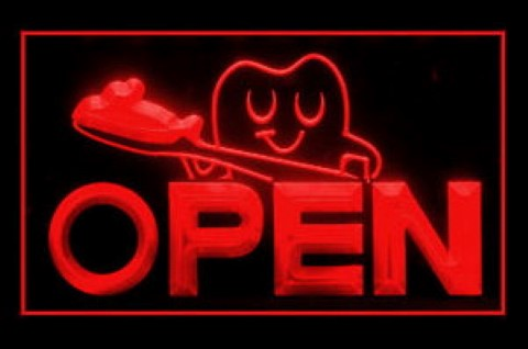 OPEN Dentist Toothbrush LED Neon Sign