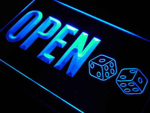 OPEN Dice Casino Game Room Bar Neon Light Sign