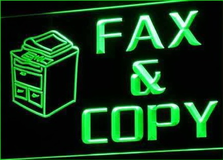 OPEN Fax and Copy Stationery Neon Light Sign