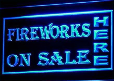 OPEN Fireworks On Sale Displays Neon Light Signs