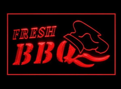 OPEN Fresh BBQ Bar LED Neon Sign